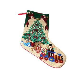 Vtg Needlepoint Christmas Stocking Beaded Garland